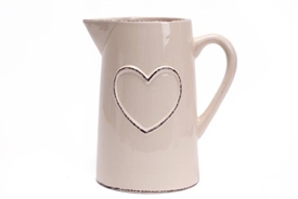 Shabby Chic Cream Ceramic Hand Drawn Jug 19cm