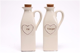 Shabby Chic Cream Ceramic Hand Drawn Heart Oil And Vinegar Dispenser Set 20.5cm