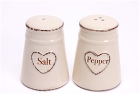 Shabby Chic Cream Ceramic Hand Drawn Heart Salt And Pepper Condiment Set 8cm