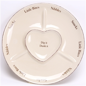 Heart Dip And Snack Dish 30cm