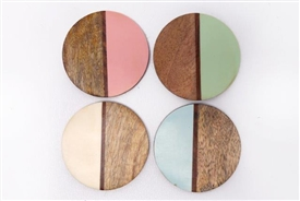 Set Of 4 Round Wooden 2 Tone Coasters