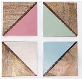 Set Of 4 Square Wooden 2 Tone Coasters