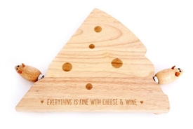 Cheese Wedge Wooden Board And Mouse Knife Set 31cm