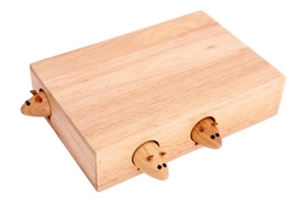 Retangular Rustic Wooden Block Mouse Cheeseboard Set 25cm