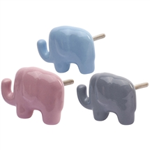 Ceramic Elephant Draw/Door Knob 3 Assorted