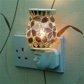 Plug-In Glass Mosaic Warmer - White Tulip