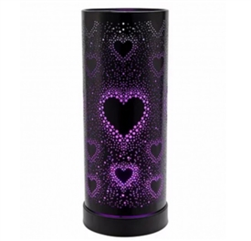 DUE LATE MAY Colour Changing LED Aroma Lamp - Black Hearts