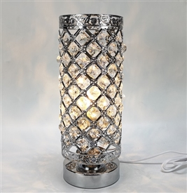 Touch Sensitive Jewelled Silver Aroma Lamp