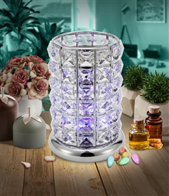 DUE MID MARCH Crystal LED Colour Changing Aroma Lamp - Silver