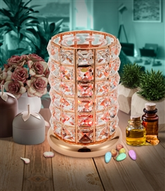 DUE MID MARCH Crystal LED Colour Changing Aroma Lamp - Rosegold