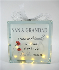Nan And Grandad Memorial LED Glass Block 19cm