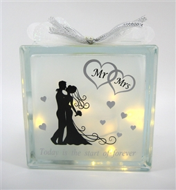 Mr And Mrs LED Glass Block 19cm
