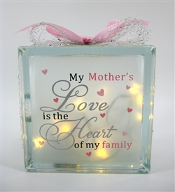 Mothers Love LED Glass Block 19cm