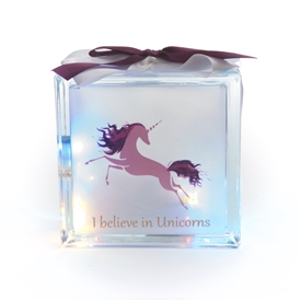 Believe In Unicorns LED Glass Block 19cm