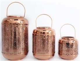 Set Of 3 Copper Finish Lanterns