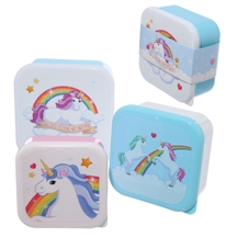 Set Of 3 Lunch Boxes- Enchanted Rainbows Unicorn Design