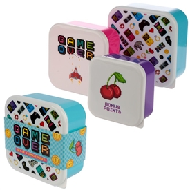 Set Of 3 Game Over Lunch Boxes 11cm