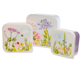 Set Of 3 Botanical Garden Lunch Boxes 13cm