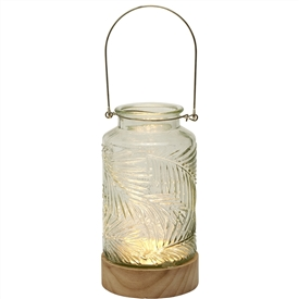 LED Jar With Wooden Base � Clear