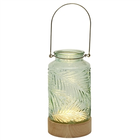 LED Jar With Wooden Base � Coloured