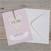 New Baby Girl Greeting Card With Heart Plaque