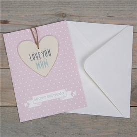 Love You Mum Greeting Card With Heart Plaque