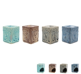 Ceramic Oil Burner with Buddha Face Design 4 Assorted