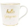 'Hello Gorgeous' White And Gold Mug With Curved Handle