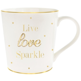 'Live Love Sparkle' White And Gold Mug With Curved Handle