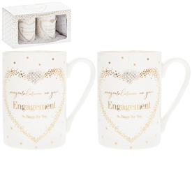 Mad Dots Set Of 2 Engagement Mugs