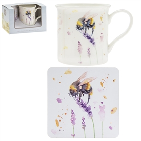 Country Life Bee Mug And Coaster Set