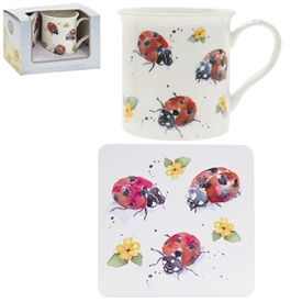 Country Life Ladybirds Mug And Coaster