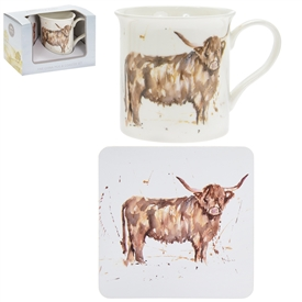 Country Life Highland Cow Mug And Coaster Set