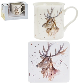 Country Life Stag Mug And Coaster Set