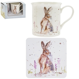 Country Life Hare Mug And Coaster Set
