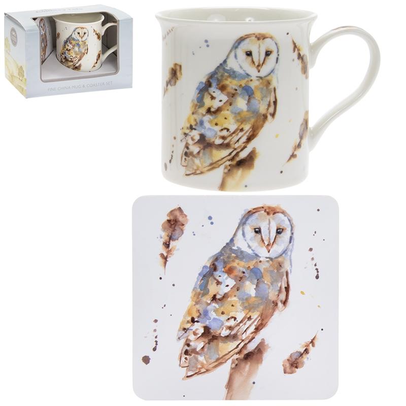 Leonardo Macneil Studio Mug /& Coaster set Barn Owl or Kingfisher