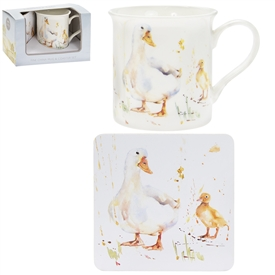 Country Life Ducks Mug And Coaster Set