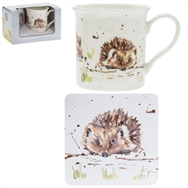 Country Life Hedgehogs Mug And Coaster Set