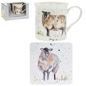 Country Life Sheep Mug And Coaster Set