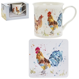 Country Life Cockerel & Hen Mug And Coaster Set