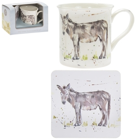 Country Life Donkey Mug And Coaster Set