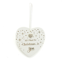 Mad Dots Want For Christmas Heart Plaque