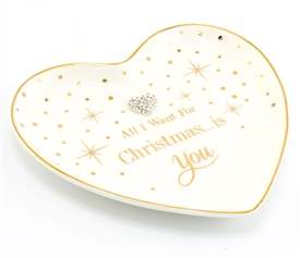 SPECIAL OFFER (WAS £3.75) Mad Dots Want For Christmas Heart Trinket Dish