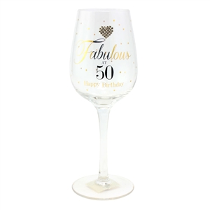 Mad Dots Fabulous At 50 Wine Glass 23cm