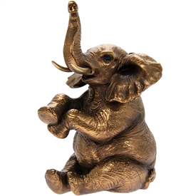 Reflections Bronzed Sitting Elephant Ornament