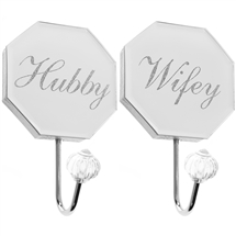 REDUCED Hubby And Wifey Wall Hook Set