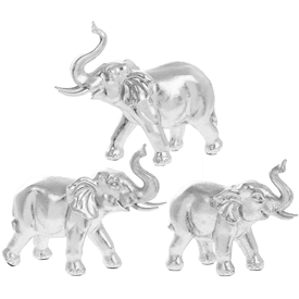 Silver Art Elephant Family Set.
