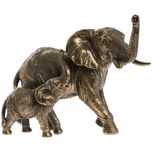 Reflections Bronzed Elephant And Calf