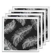 Black Mirror Feather Set Of 4 Coasters