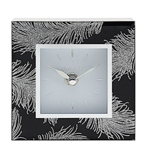Black Mirror Feather Clock 12cm